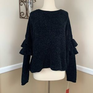 Mossimo Ruffle Sleeve Chenille Knit Sweater Black